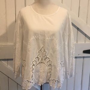 Cynthia Rowley White Cotton & Lace Top Sz XL